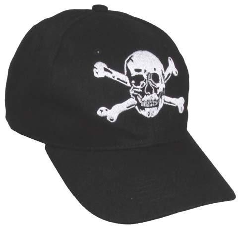 Baseball Cap, flach, 'Totenkopf' schwarz, verstellbarer Klemmverschluss