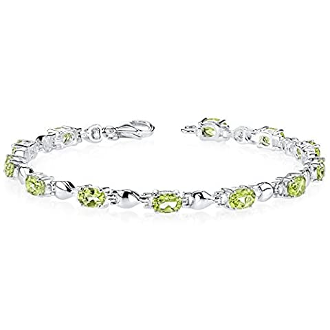 Revoni Exquisite Classic: 5.50 carats total weight Oval Shape Peridot Gemstone Bracelet in Sterling Silver