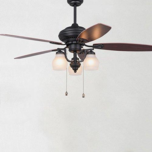 Deckenventilator leuchtet Creative Antique Restaurant Deckenventilator Amerikanischer Kronleuchter mit Fan Pastoral Kunst Holz Blatt Fan Light (1 Geschwindigkeit-kondensator-motor)