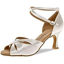 Diamant Mujeres Zapatos de Baile/Zapatos de Novia 141-087-092 - Satén Blanco - 6,5 cm Flare