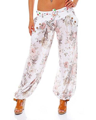 Moda Italy Damen Haremshose Pumphose Ballonhose Pluderhose Yogahose Aladinhose Harem Sommerhose mit Stoffgürtel Flower-Print, One Size Gr.36-42, Weiß