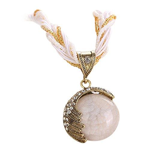Xiaojing Damen Bohemian Schmuck Statement Halsketten Damen Strass Edelstein Anhänger Halsband (14k Weiß-diamant-ohrringe)