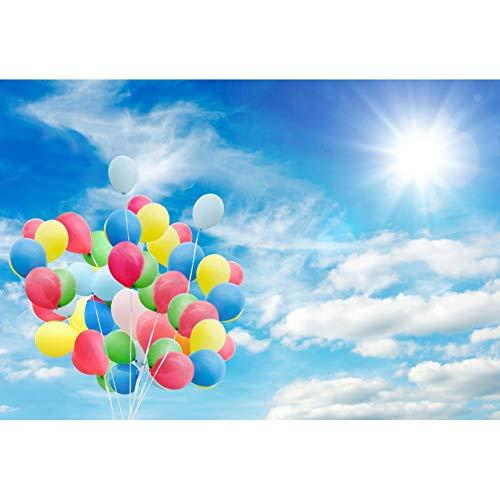 Cassisy 2,2x1,5m Vinyl Geburtstag Fotohintergrund Bunte Luftballons Sonniger Himmel Blauer Himmel Weiße Wolken Fotoleinwand Hintergrund für Fotostudio Requisiten Party Kinder Photo Booth (Auf Luftballons Mit Sie Fotos)