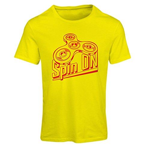 """T-shirt femme Spin On - pour qui aime jouer au """"Fidget Spinner Jouet amusant"""" Jaune Multicolore"""