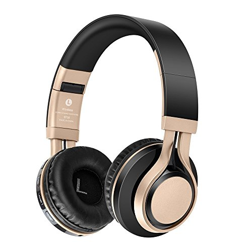 Preisvergleich Produktbild KINGCOO Bluetooth Kopfhörer,  Faltbar Drahtlose Bluetooth 4.0 Kopfhörer Verdrahtete Auf Ohr-Kopfhörern, TF Karten-Mp3 Spieler FM Radio Headsets mit Mic(Schwarz / Gold)