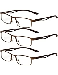 Zhhlaixing 3 Pairs of Reading Glasses Lunettes de lecture rétro Eyewear Readers - Choose Your Magnification Gift for Parents