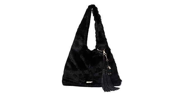 River Island Ladies Black Faux Fur Oversized Slouch Bag  Amazon.co.uk   Shoes   Bags a727d84d0fad6