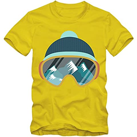 Ski Snowboard Tee Shirt | Adulte Homme | Sports D'Hiver | Maillot | T-Shirt | S-5XL, Colour:yellow