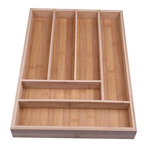 Vosarea Küchenutensilien Schublade Organizer Tablett Bambus Holz 6 Fächer Besteck Halter Besteck Tablett Küche Schubladen Teiler (Holz-küche-schublade Teiler)