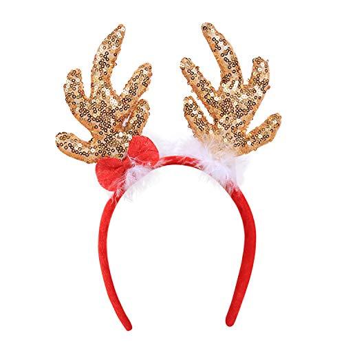 De feuilles Weihnachten Kinder Erwachsene Stirnband Rentier Haarreif Weihnachten Weihnachtsmütze Kopfbedeckung Kostüm Geschenk
