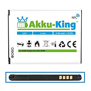 Akku-King Battery for Samsung Galaxy S4 Mini, i9195 - replaces EB-B500BE, EB-B500BU - 2100 mAh (NFC)