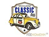 FEENOMENN Plaque Métal Déco Vintage - Effet Relief - 2cv Classic Route 66 (30x30cm)