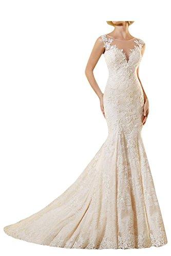LYDIAGS  Damen Bandeau Brautkleid Gr. 46, Weiß - Weiß