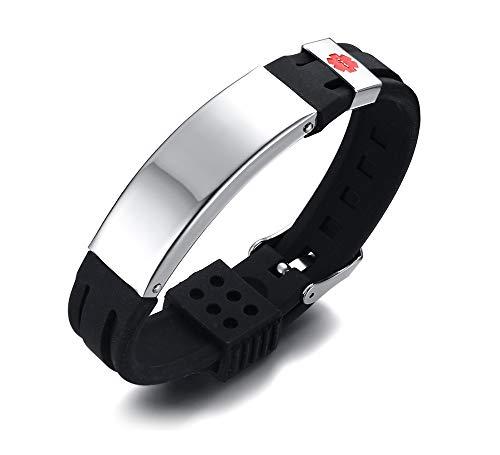 Preisvergleich Produktbild Mealguet Jewelry Gratis Gravur Schwarz Edelstahl & Silikon Gürtelschnalle verstellbar Medical Alert Band ID Armbänder für Männer Jungen