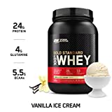 Optimum Nutrition Gold Standard Whey Protein Powder Muscle Building Supplements with Glutamine and Amino Acids, Vanilla Ice Cream, 29 Servings, 908 g, Packaging May Vary