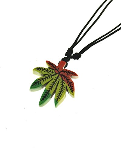 Zac's Alter Ego® Rasta Pot Leaf Pendant on Wax Cord Necklace with Brown Beads Pot Leaf
