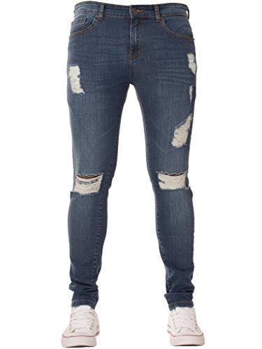 New Mens ENZO Super Skinny Stretch Ripped Denim Distressed Jeans