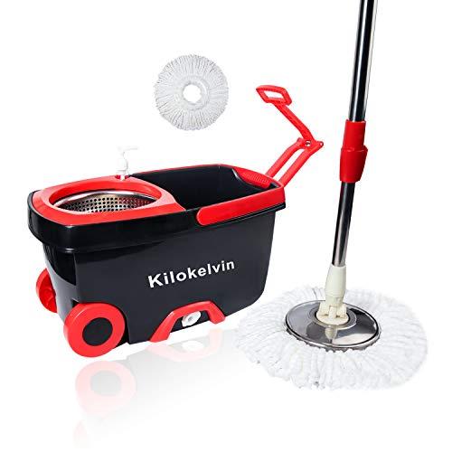 kilokelvin Fregona Giratoria 360, Cubo con Ruedas y Fregona de Microfibra Set de Limpieza, Fácil de Escurrir y Limpiar (Color Rojo y Negro)