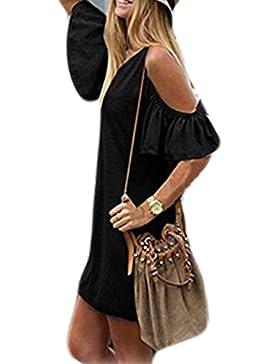 cooshional Damen sommerkleider kurz Schulterfrei Kurzarm Party Clubwear Kleid Partykleid Minikleid Größe M-8XL