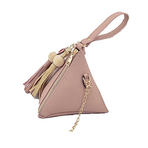 Handtaschen, CONMING Handtaschen Dreieck Sommer Damen Handytasche Einfache Münztasche Holz Ball Fransentasche Pink