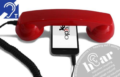 OPIS 60s MICRO hEar: Retro Telefonhörer für die Benutzung mit Mobiltelefon und Hörgerät (rot)