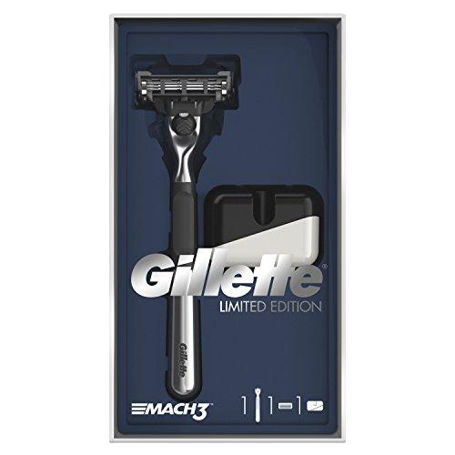 Rasoio Gillette Mach Razor Limited Edition confezione regalo con manico cromato e rasoio supporto