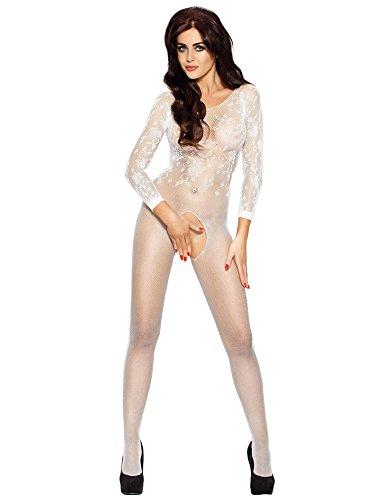 Preisvergleich Produktbild Damen Nylon Catsuit Netz Overall Bodystocking Spitze Reizwäsche Gogo S/M/L Farbe weiß