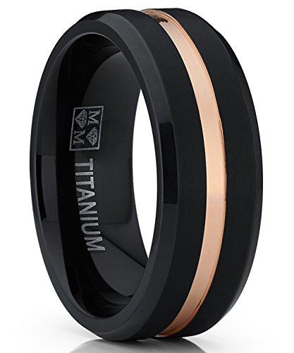 Metal Masters Co. Herren schwarz und roségold-Ton Titan ehering 8mm