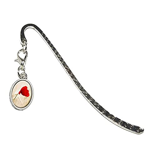 Red Poppy Flower in Wheat Field Metal Bookmark Page Marker with Oval Charm