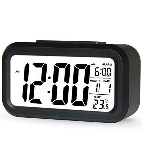 Newin Star Digital-Wecker LCD Elektronische Uhr mit großem Display der Batterie mit Hintergrundbeleuchtung des Sensors LED-Uhr mit Temperaturanzeige Datum (schwarz) Decora -