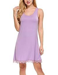 HOTOUCH Femme Chemise de Nuit Coton Sans Manche Robe de Nuit Pyjamas S-XXL