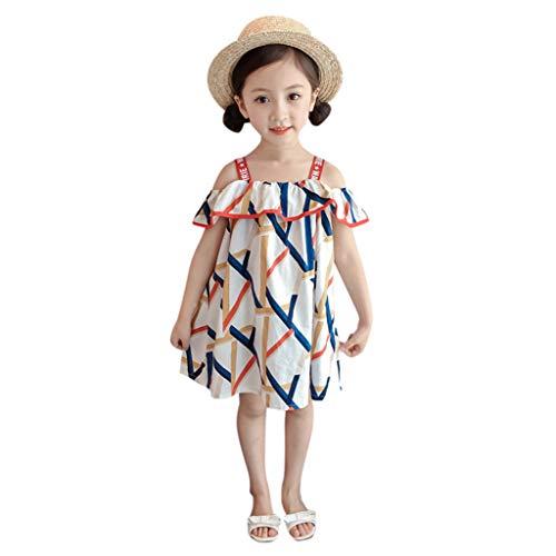 Livoral Mädchen drucken Prinzessin Kleid Kleinkind Kind Baby Kleidung trägerlosen trägerlosen Kleid(Blau,120)