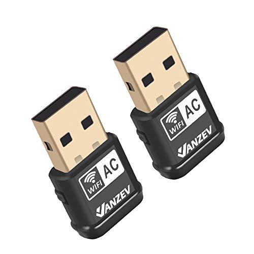 VANZEV WLAN Stick WiFi Adapter Nano [2 Stück] Dualband AC600Mbit/s (5.8G/433M + 2 .4G/150M) Mini Wireless USB Dongle fur Desktop PC Laptop, Unterstutzt Windows 10/8/7/Vista/XP, Linux2.6X, MAC OS X
