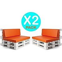 [Patrocinado]SUENOSZZZ- 2 Juegos de cojines para palet europeo. X2 Asiento y Respaldo de Espumacion HR enfundado en Polipiel Naranja. Exterior e interior. Desenfundable. Asiento:120x80x10 cm. Respaldo en forma de Cuña. 120 x 40 x 20 x 15 cm.