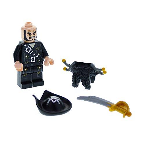 Preisvergleich Produktbild 1 x Lego System Figur Mann Pirat Fluch der Karibik Pirates of the Caribbean Blackbeard Torso schwarz mit Bart Hut Schwert 95350c01 poc007