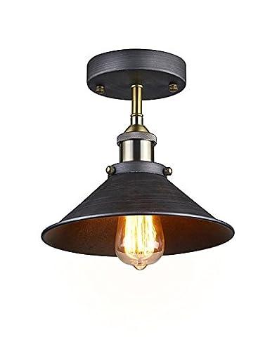 KLSD Retro Vintage Mini Edison Industrial Hanging Pendent Ceiling Light Shade Cone Mini Semi Flush Mount Ceiling Lampe pour l'étude Café Salle à manger Cuisine Noir (Ampoule non incluse)