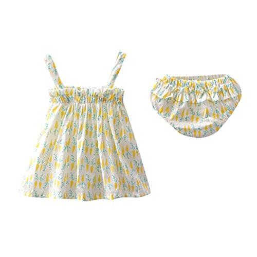 Mounter Robe D'été de Fille, Enfants D'été Carotte Print Sling Jupe + Kitty Pantalons Ensemble 6-24Mois (Jaune, 24 Mois)