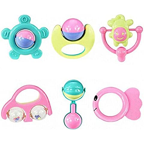 Fortan 6pc animali handbells Developmental Toy Bells bambini crepitio del bambino Lovey