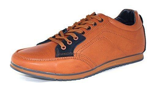 Da Uomo Casual Tela Scarpe Da Ginnastica Stringate scarpe Corsa décolleté UK 6 7 8 9 10 11 - Marrone/Blu scuro, 9 UK / 43 EU