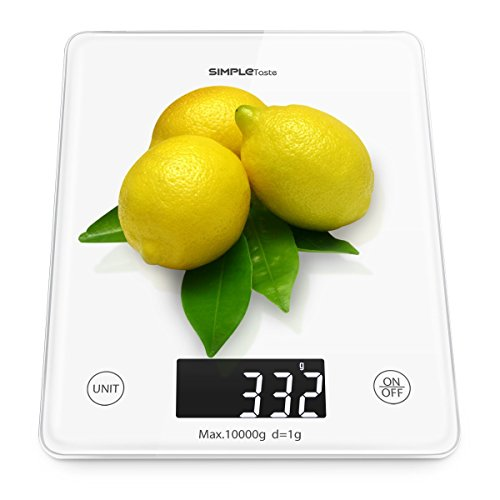 20 Unzen Flüssigkeit (simpletaste Professional Touch Digital Küchenwaage Elektronische Home Skala mit wägebereichs von 0.2oz (5g) bis 22lbs (10kg), eleganter Sekuritglas, weiß)
