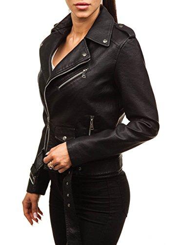 BOLF Damen Kunstlederjacke Reverskragen Zip Casual Style FEIFA Fashion 88758 Schwarz XL [D4D]