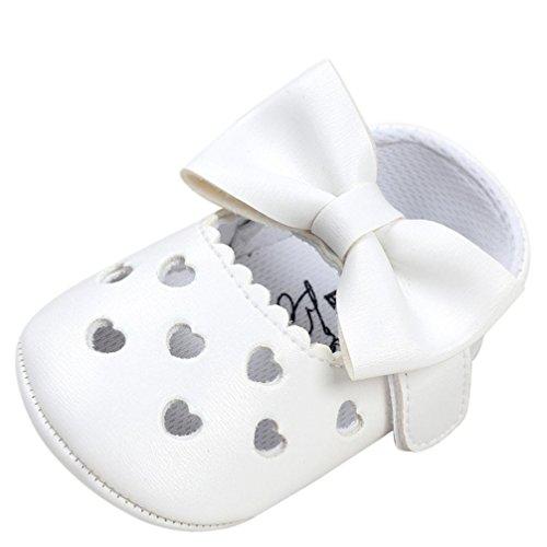 Mädchen Baby Schuhe, FNKDOR Neugeborene Bowknot Rutschfest Lauflernschuhe 0-18 Monate (0-6 Monate, Weiß)