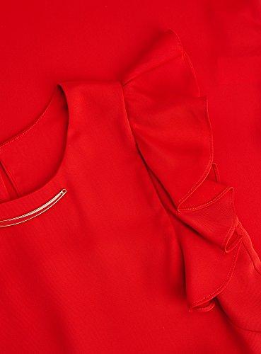 oodji Collection Femme Robe avec Manches à Ailettes et Décor sur l'Encolure Rouge (4500N)