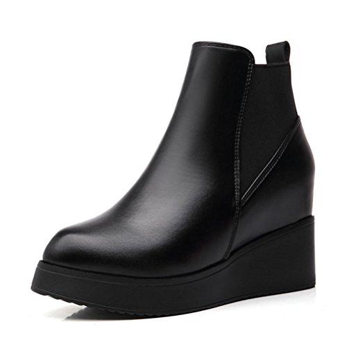 QPYC Alti talloni delle signore a punta Stivaletti Scarpe banda elastica interna Aumento Alto Medio tallone spesso Stivaletti inferiori black