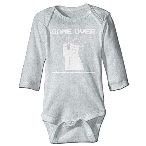 Unisex Newborn Bodysuits Game Over Married Boys Babysuit Long Sleeve Jumpsuit Sunsuit Outfit Ash