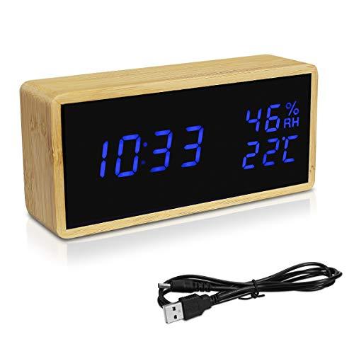 Navaris Reloj Digital de Madera con conexión USB y LED en Azul - Despertador con 3 alarmas indicador...