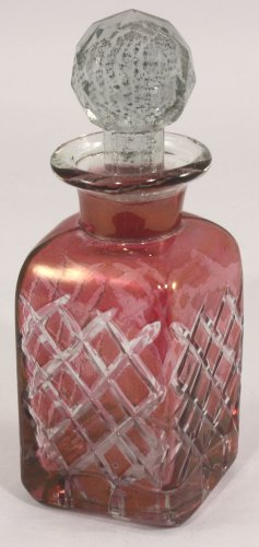 Antique Style Cut Glass Perfume Bottle - Red by marymarygardens