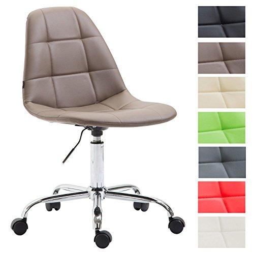 CLP Bürostuhl Reims mit Kunstlederbezug I Schreibtischstuhl mit Laufrollen und gestepptem Sitz I Höhenverstellbarer Drehstuhl I erhältlich Braun