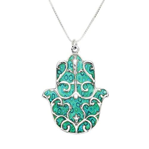 Pendentif Main de Fatma Protectrice avec motif Fleur de Lys - Bijoux Argent et Fimo - Cadeau symbolique Turquoise