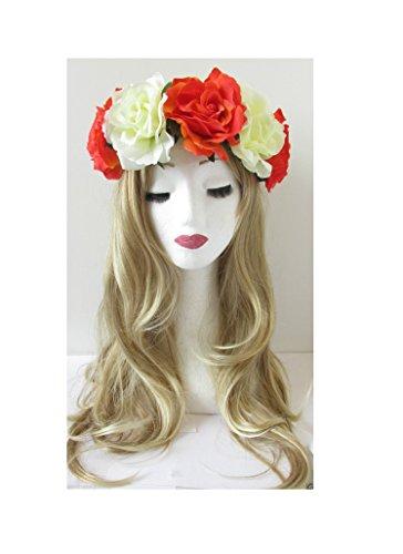 Grande fleur orange/crème/rose cheveux Bandeau Couronne Guirlande Festival VTG Big R90 * * * * * * * * exclusivement vendu par – Beauté * * * * * * * *